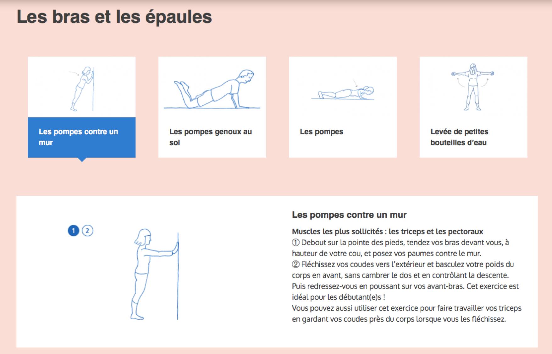 Exercice des épaules et des bras. Source : manger-bouger.fr